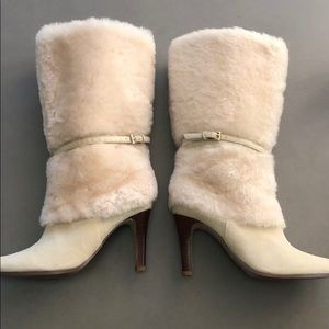 Ralph Lauren  shearling and suede cream boots 6.5